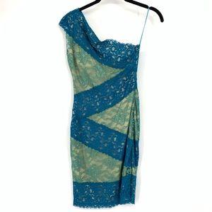 Ark & Co One Shoulder Cocktail Dress Blue Lace